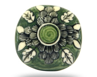 Dark Green Round Ceramic Door Knob, Decorative Kitchen Cupboard Handle, Living Room Cabinet Pull or Office Drawer Knob for any Décor