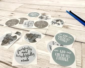 Bible Prayer Journaling 'Joyful' Sticker Set, Scripture Journaling Set, Envelope Seals, Christian Gift