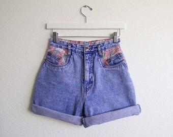 VINTAGE Jeansshorts Floral 1990er Jahre hohe Taille Denim Womens Extra klein