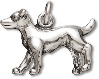 Sterling Silver Jack Russell Terrier Dog Charm Pendant 3D Pet Animal