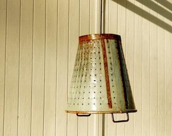 Olive Basket Light, Galvanized Metal Light, Pendant Lights Antique Olive Basket Rustic LIght Hanging Light Metal Basket LIght Vintage