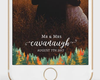 Fall Wedding Snapchat Filter | Autumn Wedding | Orange Pine Trees | Pine Trees Snapchat Geofilter | Forest Snapchat Filter | Any Event |