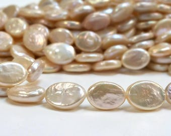 High Luster A grade 12 to 14 mm. Cultured Freshwater Pearl - Oval Coin Pearl Beads - Light Champagne Bridal Bridesmaid Pearl (G2755W45)