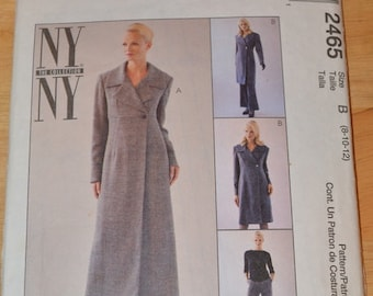 McCall's 2465 NY Collection, Misses' Lined Coatdress in 2 lengths and pants, size 8, 10, 12