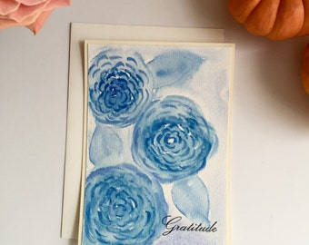 Hand painted watercolor thank you greeting card