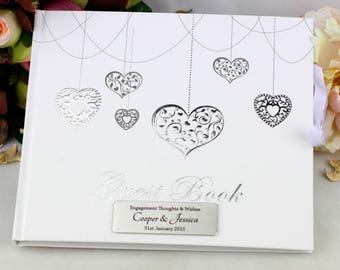 Personalised Engagement Guest Book - Hearts