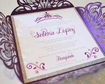Quinceanera invite. Tiara & Crown Invitation,  Spanish Invitation.  15th Birthday Invite. Sweet 16 Invitation.