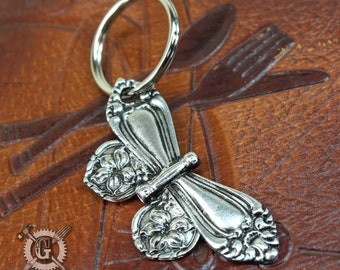 Spoon Butterfly Keychain - Inspired by Antique Victorian Silverware - Hand Cast Keyring - Handmade Jewelry Creations Doctorgus