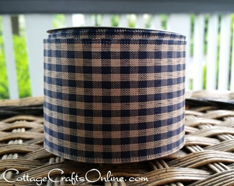 """Wired Ribbon, 2 1/2"""", Navy Blue and Beige Tan Gingham Check - TEN YARD ROLL - """"Navy Country Gingham"""" Tea Dye Prim Fall Wire Edged Ribbon"""