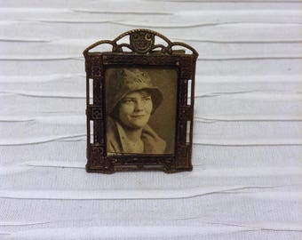 "1.25"" X 1.5"" Miniature 1910 to 1920 Brass Framed Photo.  Vintage Antique Victorian Edwardian.  Metal frame."