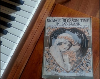 When It's Orange Blossom Time In Loveland Sheet Music -1915