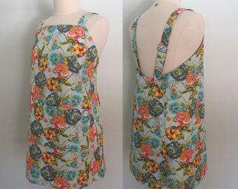 Floral Japanese Apron, Blue Criss Cross Apron, Wrap Apron Dress, Pinafore, Short or Long Length, Adjustable, Lilly Belle Garden Rocket
