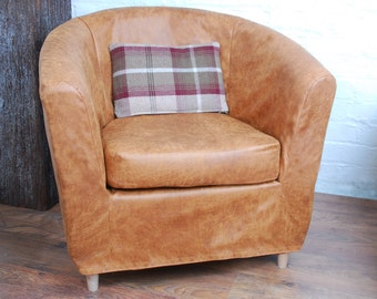 Slip Cover For Ikea Ektorp Tullsta Tub Chair In Distressed Leather Look