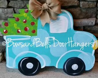 Christmas tree truck doorhanger | christmas door decor | christmas wreath | Christmas door hanger | winter wreath | Christmas decor