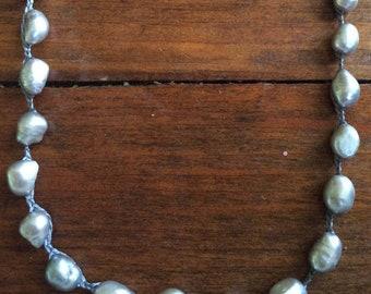 Freshwater large Gray Batoque Pearl Crochet Button Clasp