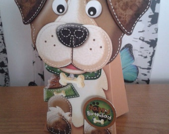 Dog Lover Card, Dog Box Card, 3D Card, Dog Card, Handmade, Greeting Card, Birthday Day Card