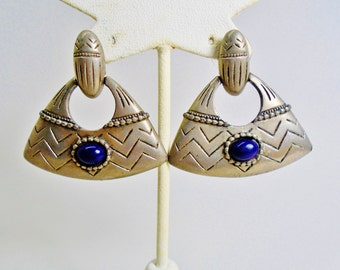 Vintage Ethnic Tribal Earrings Etched Southwestern Silver Silver & Black  Pyramid Shape Retro Dangles Retro Art Deco Runway Statement