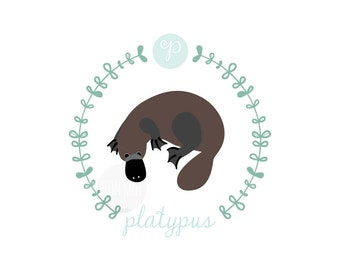 P is for Platypus, letter print, nursery decor, instant download birth print, Australian animal, cute name print, DIY
