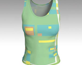 The Burbs Green Tank Top, Geometric blocks decorate a light Green Tank, Swim Tank, Athletic Top, Yoga Top, Exercise Top, Tank Tops