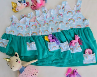 Size 6months, 18months, 3, 4 rainbows pinafore. Teal corduroy. pockets for your little girls treasures
