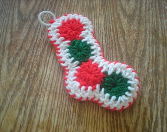 crochet christmas stocking, gift tag, ornament