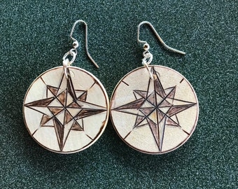 All Naturual Compass Earrings