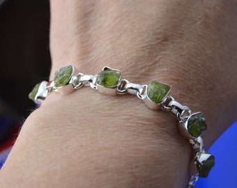 Sterling Silver and raw natural green peridot bracelet
