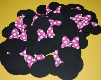 "Minnie Mouse Die Cuts 2"" (50) with Hot Pink Polka Dot Bows"
