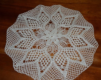 Crocheted doily ecru 33cm, round hand made with fine cotton-