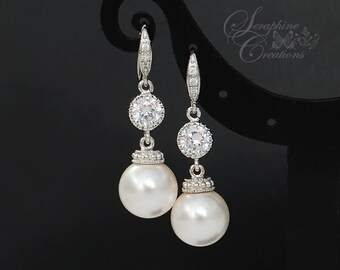 Pearl Earrings Wedding Jewelry Bridal Earrings Cubic Zirconia Swarovski Pearls Dangle Drop Bridesmaid Gifts Wedding Earrings Classic K104