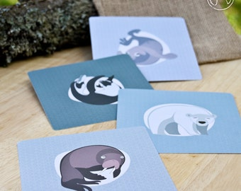 4 postcards of polar arctic animals ( walrus, penguin, polar bear, seal ), illustration, print (12,5x12,5 cm)