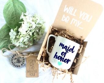 Maid of Honor Box - Maid of Honor Mug - Will You Be My Maid of Honor - Maid of Honor Proposal - Gift for Maid of Honor - Maid of Honor Gifts