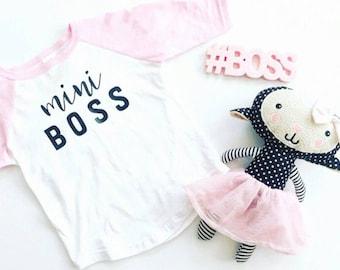 Mini Boss Raglan, Mini Boss Shirt,Baby Girl Shirt, Baby Girl
