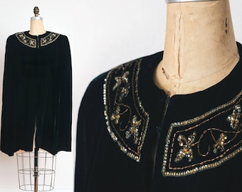 Antique Beaded Velvet Cape