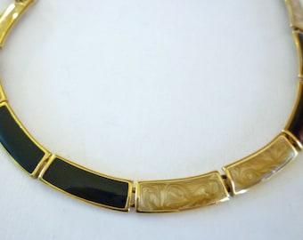 Vintage Monet Black Beige Lucite Link Necklace