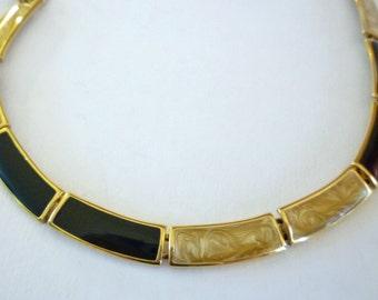 Vintage Black Tan Thermoset Link Necklace Signed Monet