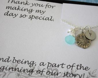 4 Bridesmaid Necklace Personalized, Beach Wedding Gift, Sand Dollar Necklace, Bridesmaid Gift, Thank You Card