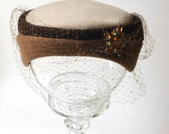 Jeweled Hat, Brown Velour Hat with Veil, Italian Fashion Hat, Vintage Italian Hat