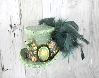 Light Green Floral Fairy Cameo Medium Mini Top Hat Fascinator, Alice in Wonderland, Mad Hatter Tea Party, Derby Hat