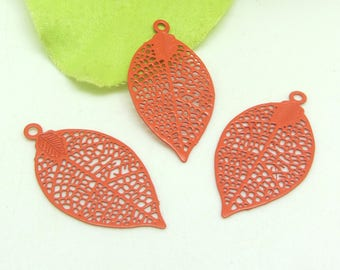 4 prints Orange soft filigree feather charms - 28 * 15 mm