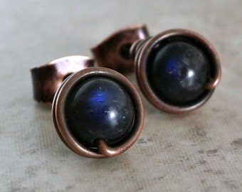 Black Labradorite Earrings Stud Rose Gold Filled Wire Wrap Stud Small Earring Black Labradorite Jewelry Royal Blue Flash Black Jewelry