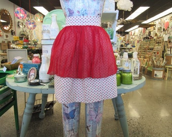 Vintage Red Polka Dotted 1950s Half Apron (E10579)