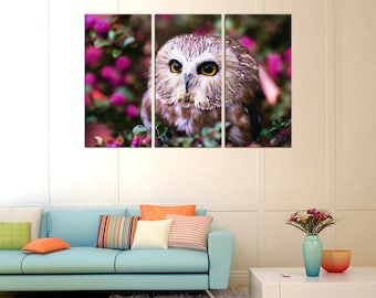 Owls Wall decor Canvas wall art Canvas Art Home decor home canvas decor Wall Art Canvas Print Housewarming gift Christmas gift Night Owl