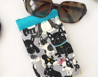 Sunglasses Pouch - Glasses Case - Padded - Snap Shut - French Bulldogs