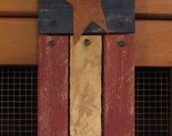 Rustic Wooden American Flag made from Antique Lath and Reclaimed Fence Boards
