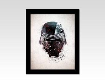 Star Wars inspired Kylo Ren Helmet abstract print