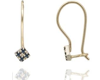 Sapphire Earrings, Geometric Sapphire Earrings in 18k Gold, Dangle Earrings, Gold Sapphire Earrings, September Birthstone, Blue Sapphire