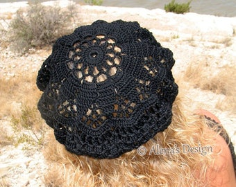 Crochet Slouchy Hat Lace Beret Tam Lace Hat Girls Ladies Teens Black White Handmade Christmas Gift Summer Spring Easter Lace Crocheted Cap