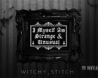 I myself am Strange and Unusual Beetlejuice Cross Stitch Pattern, Lydia Deetz