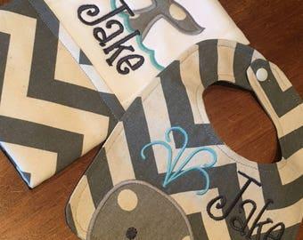 Whale Bib and Burp Cloth Set of 2 - Personalized Chevron Baby Bib Gift Set - Newborn Gift Set - Personalized Bib and Burp Cloth Set